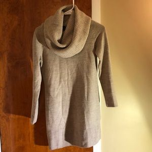 Tan Sweater Dress with Cowl Neck